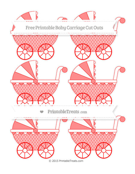 Free Red Moroccan Tile Small Baby Carriage Cut Outs