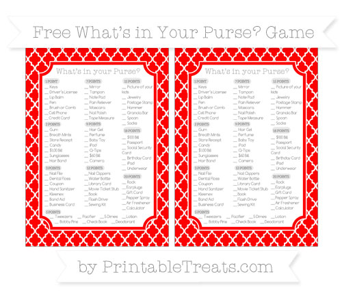 Free Red Moroccan Tile What's in Your Purse Baby Shower Game