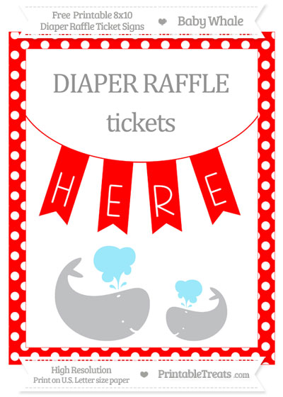 Free Red Polka Dot Baby Whale 8x10 Diaper Raffle Ticket Sign