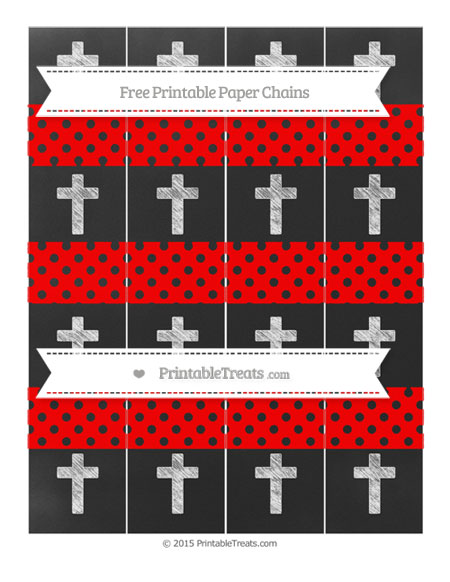 Free Red Polka Dot Chalk Style Cross Paper Chains