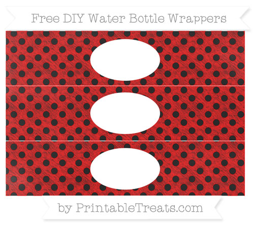Free Red Polka Dot Chalk Style DIY Water Bottle Wrappers