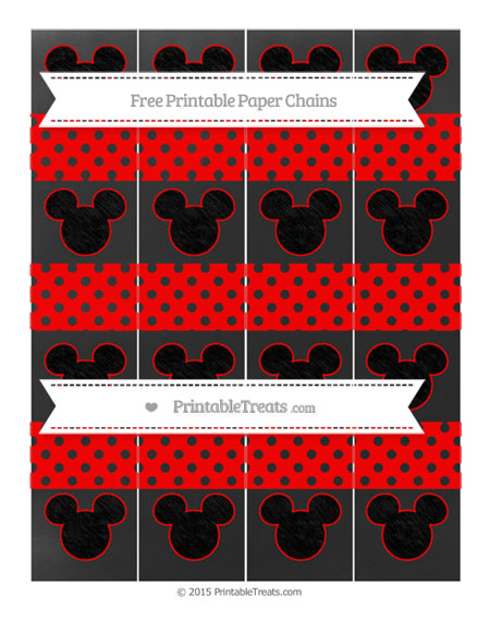 Free Red Polka Dot Chalk Style Mickey Mouse Paper Chains