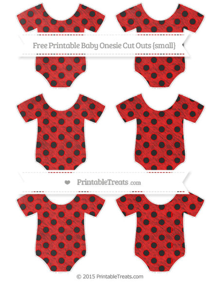 Free Red Polka Dot Chalk Style Small Baby Onesie Cut Outs