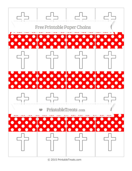 Free Red Polka Dot Cross Paper Chains