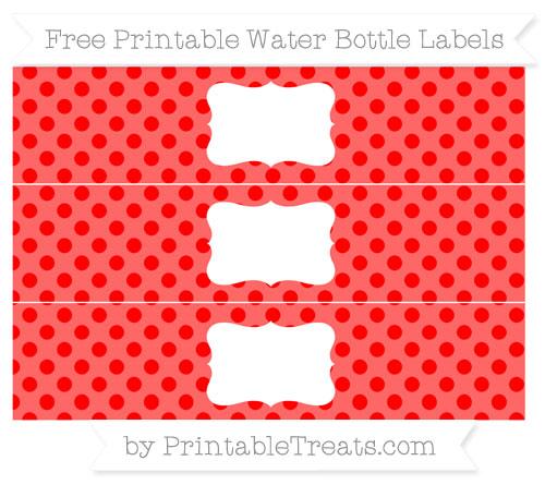 Free Red Polka Dot Water Bottle Labels