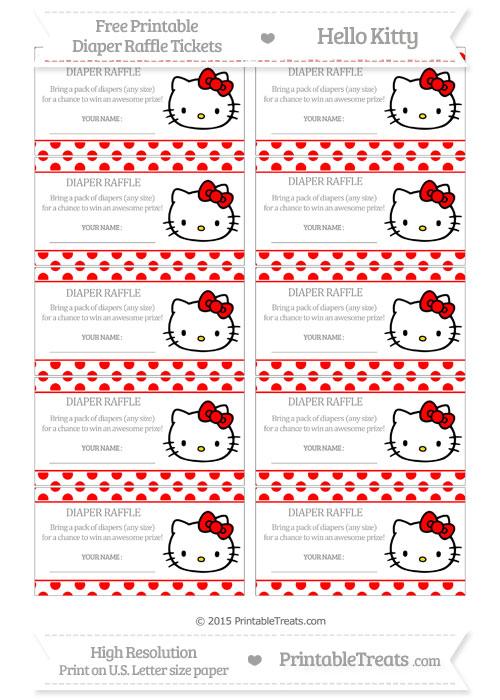 Free Red Polka Dot Hello Kitty Diaper Raffle Tickets