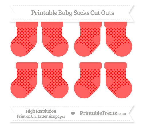 Free Red Polka Dot Small Baby Socks Cut Outs