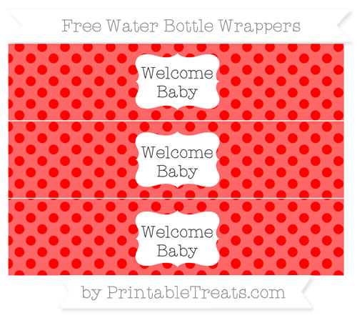 Free Red Polka Dot Welcome Baby Water Bottle Wrappers