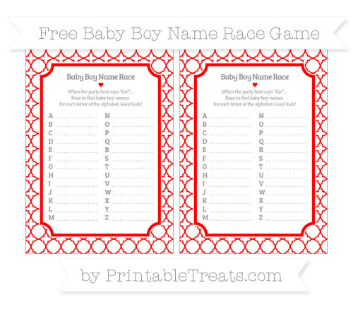 Free Red Quatrefoil Pattern Baby Boy Name Race Game