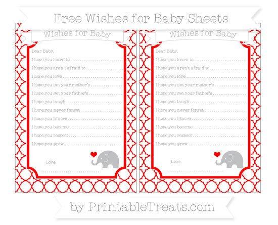 Free Red Quatrefoil Pattern Baby Elephant Wishes for Baby Sheets
