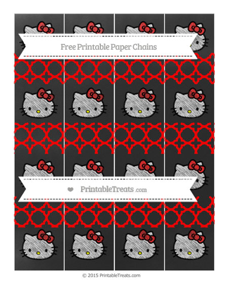 Free Red Quatrefoil Pattern Chalk Style Hello Kitty Paper Chains