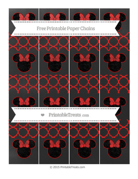 Free Red Quatrefoil Pattern Chalk Style Minnie Mouse Paper Chains