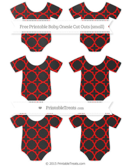Free Red Quatrefoil Pattern Chalk Style Small Baby Onesie Cut Outs
