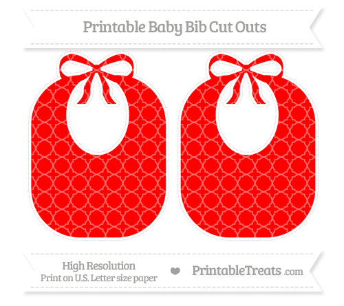Free Red Quatrefoil Pattern Large Baby Bib Cut Outs