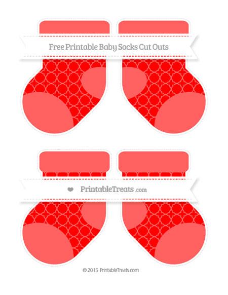 Free Red Quatrefoil Pattern Medium Baby Socks Cut Outs