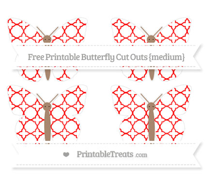 Free Red Quatrefoil Pattern Medium Butterfly Cut Outs