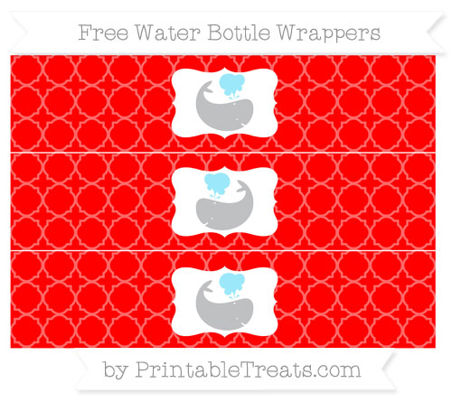 Free Red Quatrefoil Pattern Whale Water Bottle Wrappers