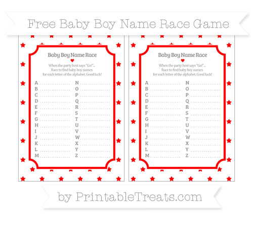 Free Red Star Pattern Baby Boy Name Race Game