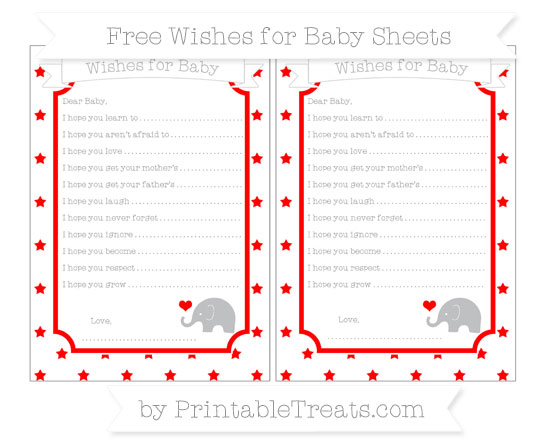 Free Red Star Pattern Baby Elephant Wishes for Baby Sheets