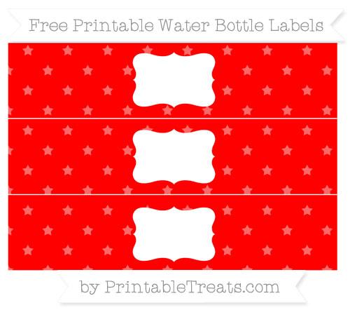 Free Red Star Pattern Water Bottle Labels