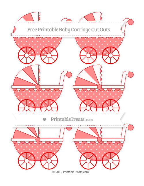 Free Red Star Pattern Small Baby Carriage Cut Outs