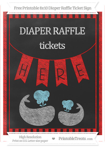 Free Red Striped Chalk Style Baby Whale 8x10 Diaper Raffle Ticket Sign