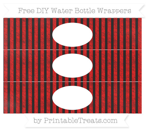 Free Red Striped Chalk Style DIY Water Bottle Wrappers