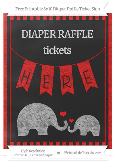Free Red Striped Chalk Style Elephant 8x10 Diaper Raffle Ticket Sign