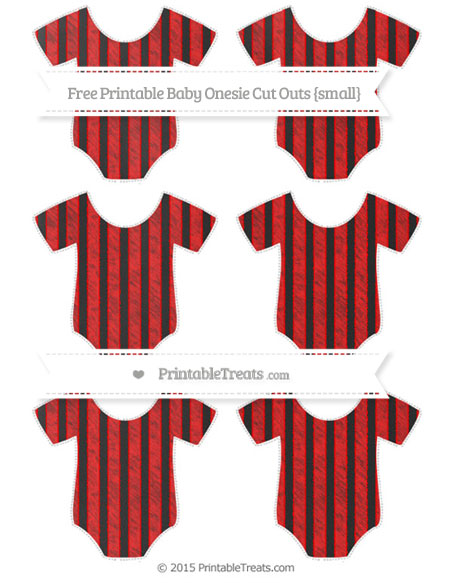 Free Red Striped Chalk Style Small Baby Onesie Cut Outs