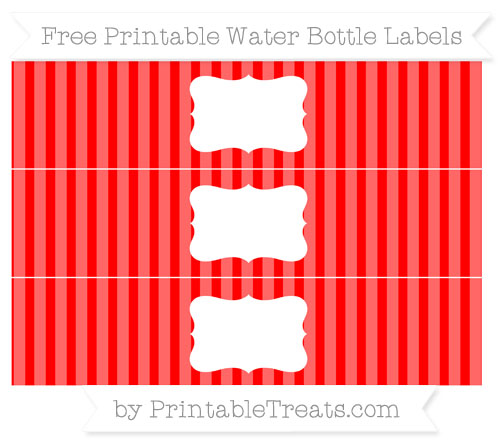 Free Red Striped Water Bottle Labels