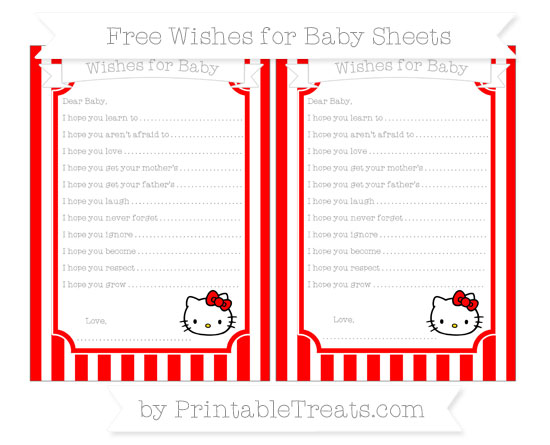 Free Red Striped Hello Kitty Wishes for Baby Sheets