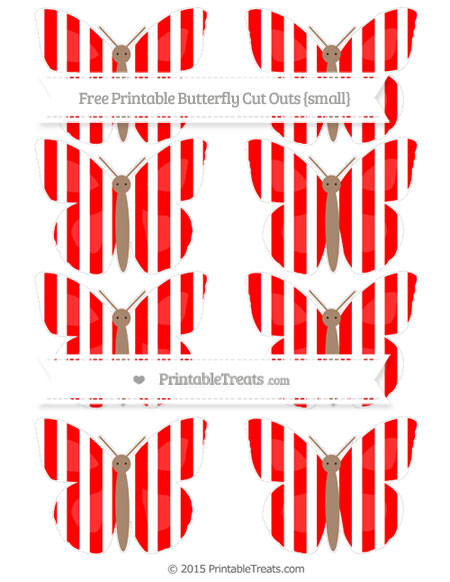 Free Red Striped Small Butterfly Cut Outs