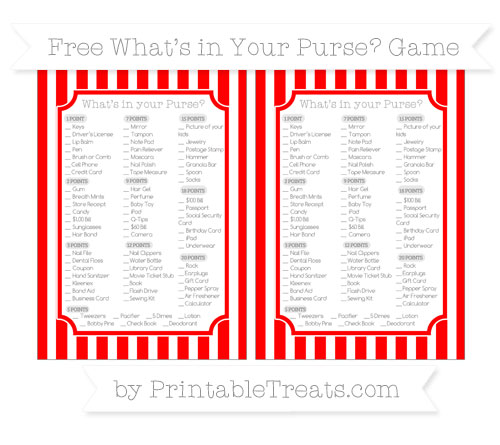 Free Red Striped What's in Your Purse Baby Shower Game