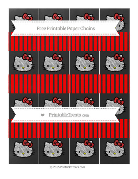 Free Red Thin Striped Pattern Chalk Style Hello Kitty Paper Chains