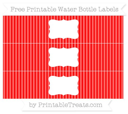 Free Red Thin Striped Pattern Water Bottle Labels
