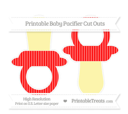 Free Red Thin Striped Pattern Large Baby Pacifier Cut Outs