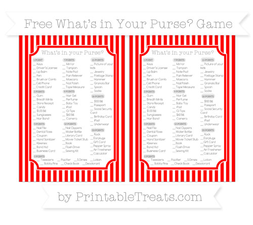 Free Red Thin Striped Pattern What's in Your Purse Baby Shower Game