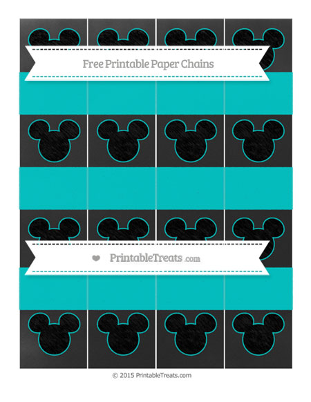 Free Robin Egg Blue Chalk Style Mickey Mouse Paper Chains