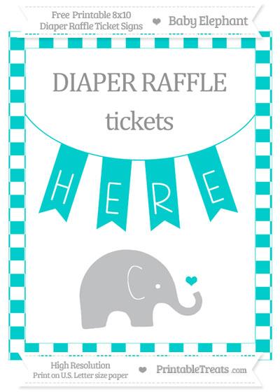 Free Robin Egg Blue Checker Pattern Baby Elephant 8x10 Diaper Raffle Ticket Sign