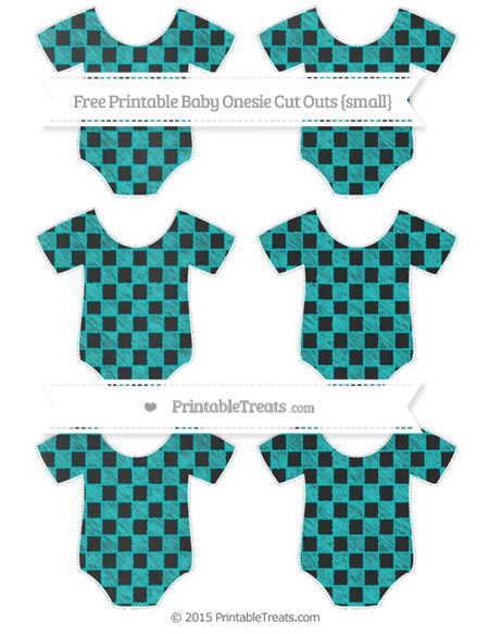 Free Robin Egg Blue Checker Pattern Chalk Style Small Baby Onesie Cut Outs