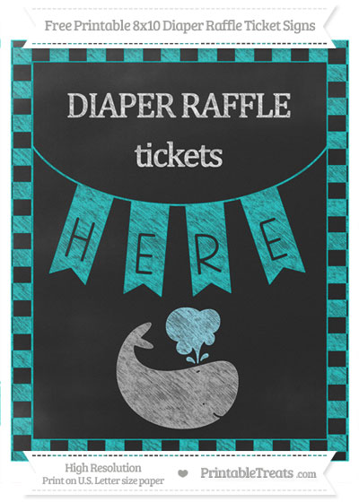 Free Robin Egg Blue Checker Pattern Chalk Style Whale 8x10 Diaper Raffle Ticket Sign