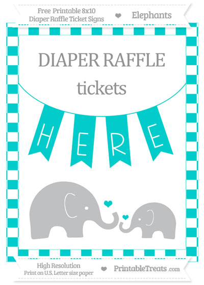 Free Robin Egg Blue Checker Pattern Elephant 8x10 Diaper Raffle Ticket Sign