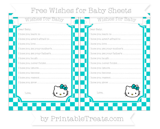 Free Robin Egg Blue Checker Pattern Hello Kitty Wishes for Baby Sheets