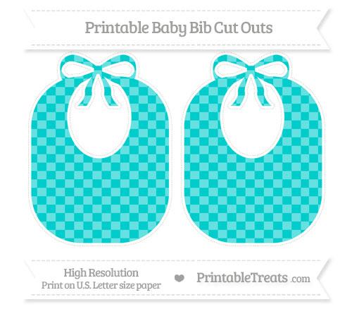 Free Robin Egg Blue Checker Pattern Large Baby Bib Cut Outs