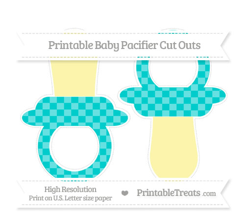 Free Robin Egg Blue Checker Pattern Large Baby Pacifier Cut Outs