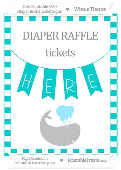 Free Robin Egg Blue Checker Pattern Whale 8x10 Diaper Raffle Ticket Sign