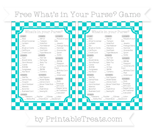 Free Robin Egg Blue Checker Pattern What's in Your Purse Baby Shower Game
