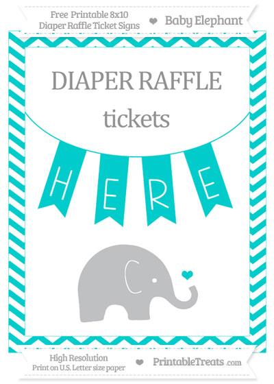 Free Robin Egg Blue Chevron Baby Elephant 8x10 Diaper Raffle Ticket Sign