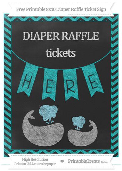 Free Robin Egg Blue Chevron Chalk Style Baby Whale 8x10 Diaper Raffle Ticket Sign