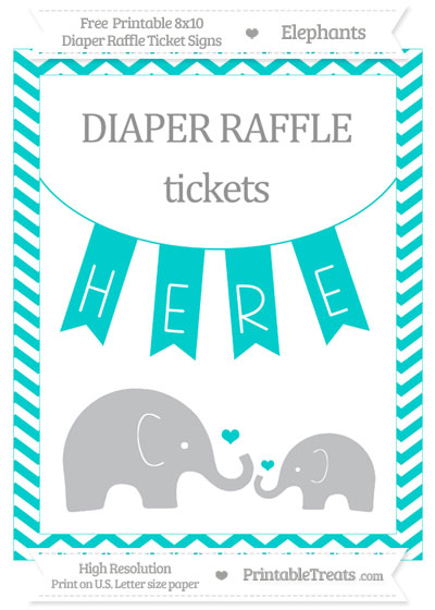 Free Robin Egg Blue Chevron Elephant 8x10 Diaper Raffle Ticket Sign